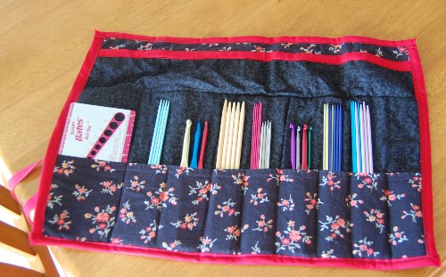double pointed needle and crochet hook roll