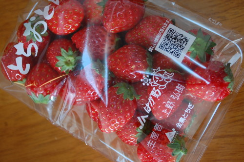 Beautiful red strawberries! Ichigo akai desu!