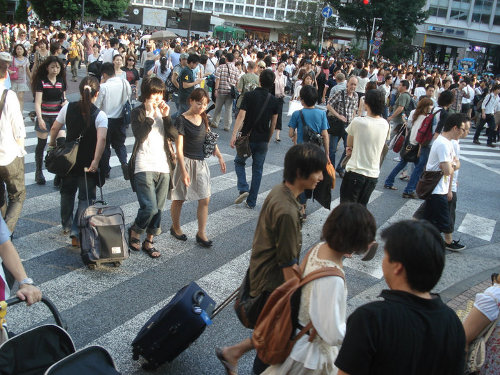Shibuya intersection - the busiest intersection in the world.