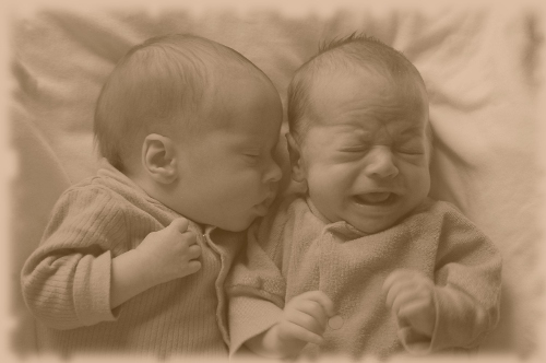 My sweet little twins, all sepia toned!