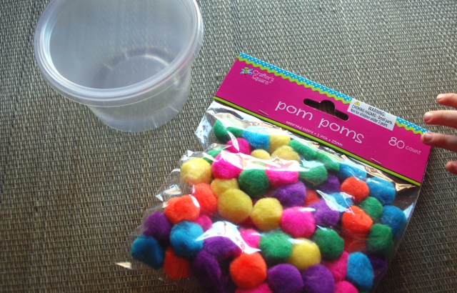 Container. Pom-poms. Simple.