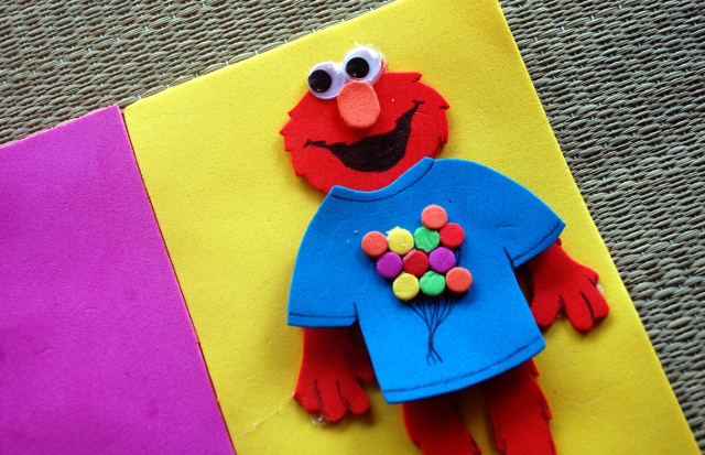 Elmo, seen here dressed in the finest fashion.