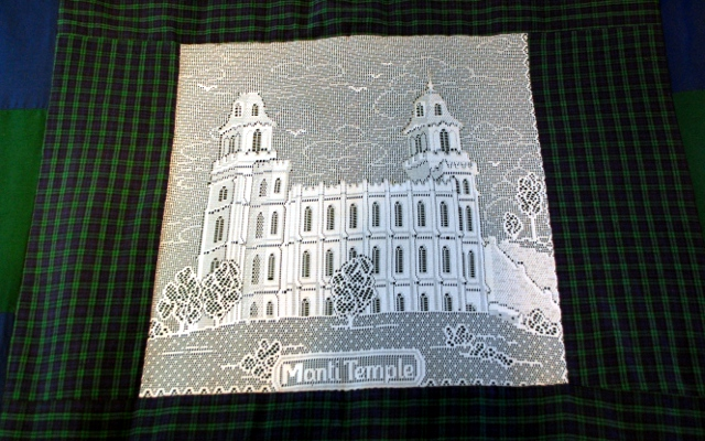 Manti temple, in lace.