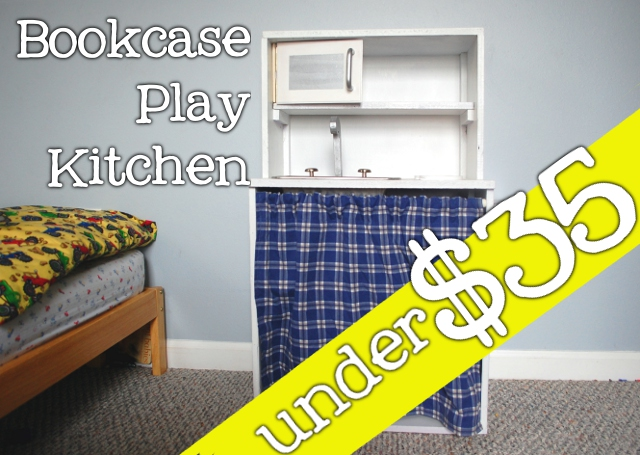 DIY Bookcase Play Kitchen for under $35