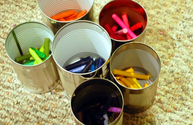 Just some crayons in a can.