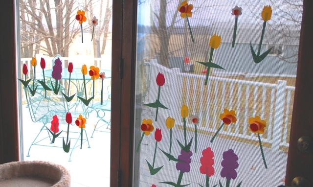 A flower garden inside.