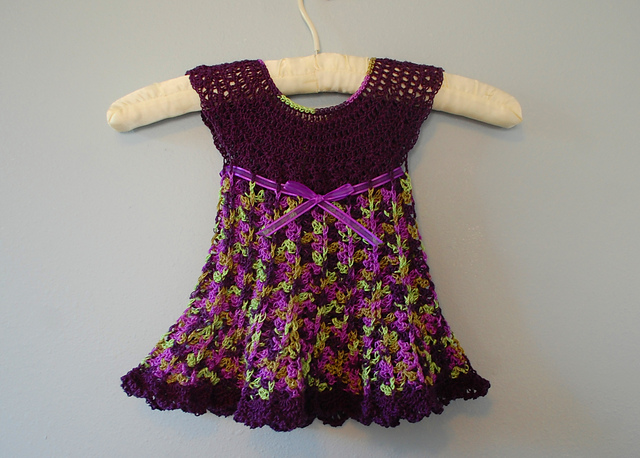 Delicate Delphinium, little crochet baby dress