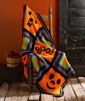 Pumpkin Face Throw from Red Heart