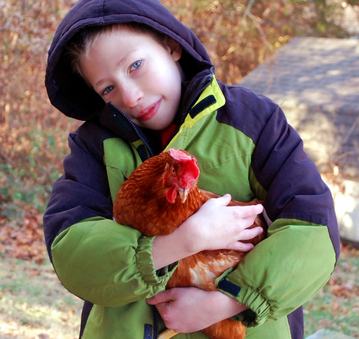 No exaggeration here. He LOVES his chickens.