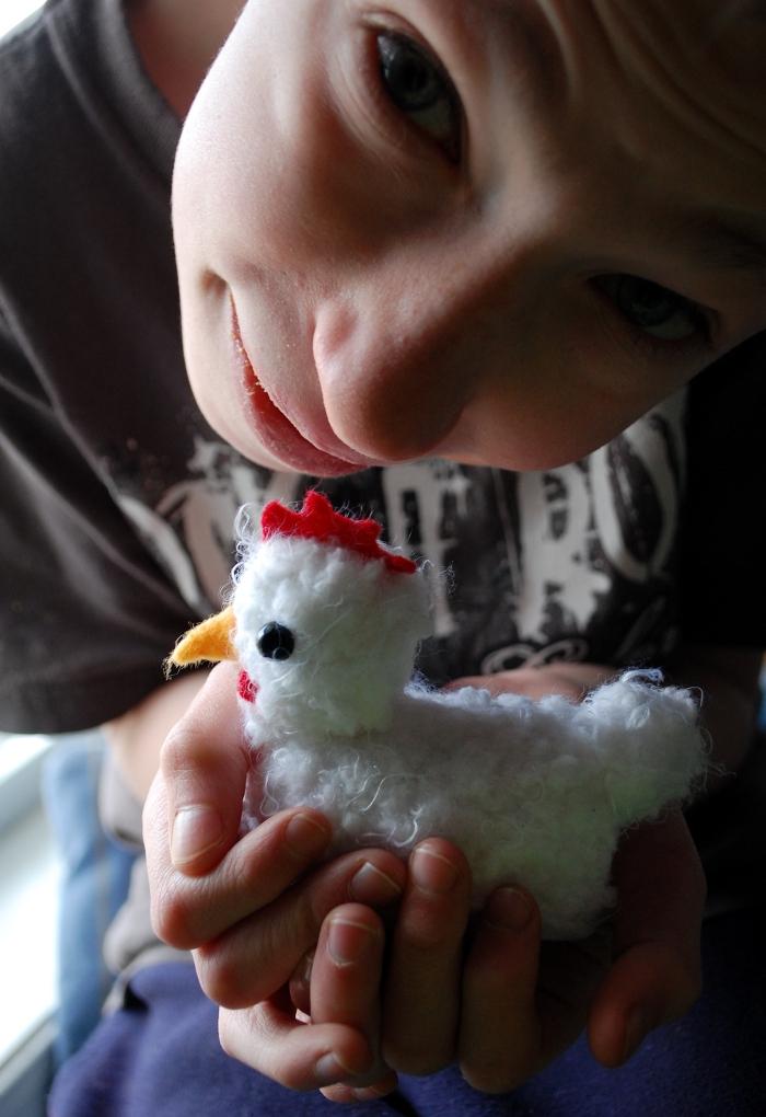 He loves his little chicken.